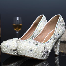 Ericdress Rhinestone Round Toe Platform Stiletto Heel Wedding Shoes