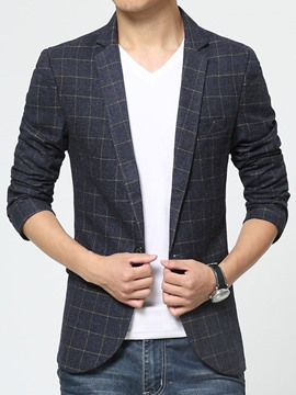 Ericdress Notched Lapel Solid Color Slim Plaid Men's Blazer