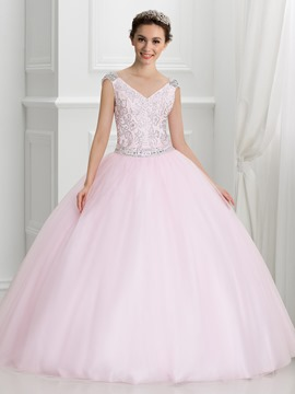 Ericdress V-Ausschnitt Cap Sleeves Sicke Quinceanera Kleid