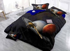 Black 4-Piece Duvet Cover Sets with Planets 3D Print