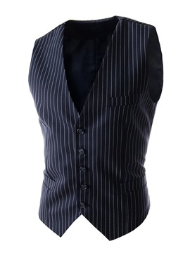 Ericdress Stripe Slim All Matched Men's Vest