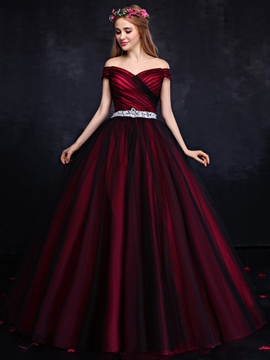 Ericdress Off-the-Shoulder Ball Gown Crystal Ruched Quinceanera Dress