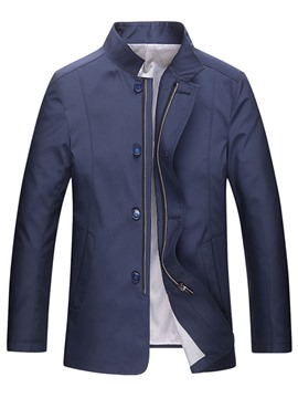 Ericdress Plain Thin Zip Men's Trench Coat