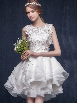 Ericdress Short/Mini Straps A-Line Sleeveless Garden/Outdoor Wedding Dress