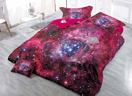 Super Cool Starry Sky Print Satin Drill 4-Piece Red Duvet Cover Sets
