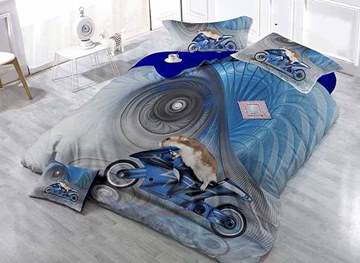 kreatives animal driving moto print blau satin bohrer 4-teilig bettbezug-sets