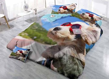 Cool Dog Wearing Sun Glass Design Satin Drill 4-Piece Duvet Cover Sets