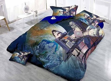 Superb Space Station and Planet Print Satin Drill 4-Piece Duvet Cover Sets