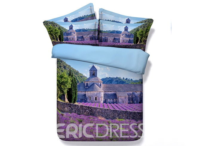 Ericdress Lavender Field Around Castle Print 3D Bedding Sets 12222126