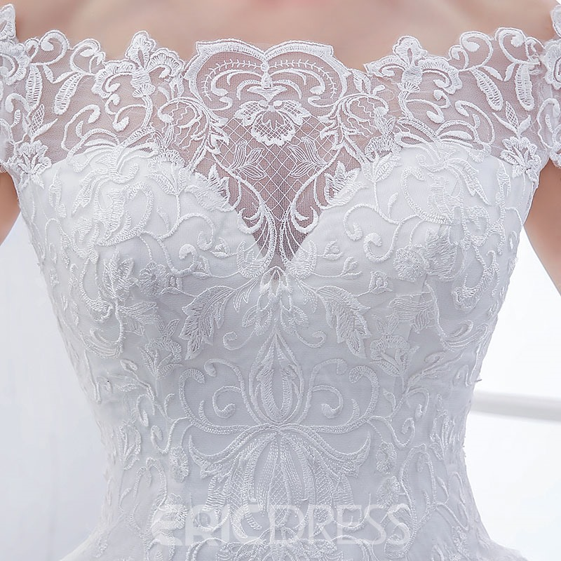 Ericdress Modest Off The Shoulder Lace Wedding Dress