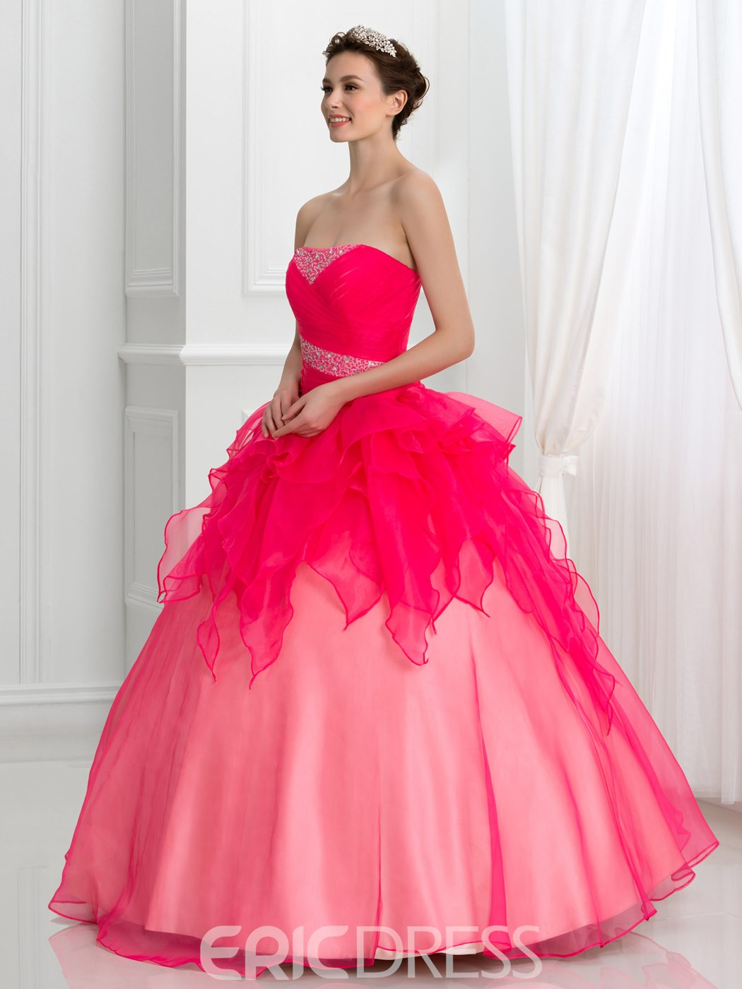Ericdress Strapless Beading Pleats Lace-Up Quinceanera Dress