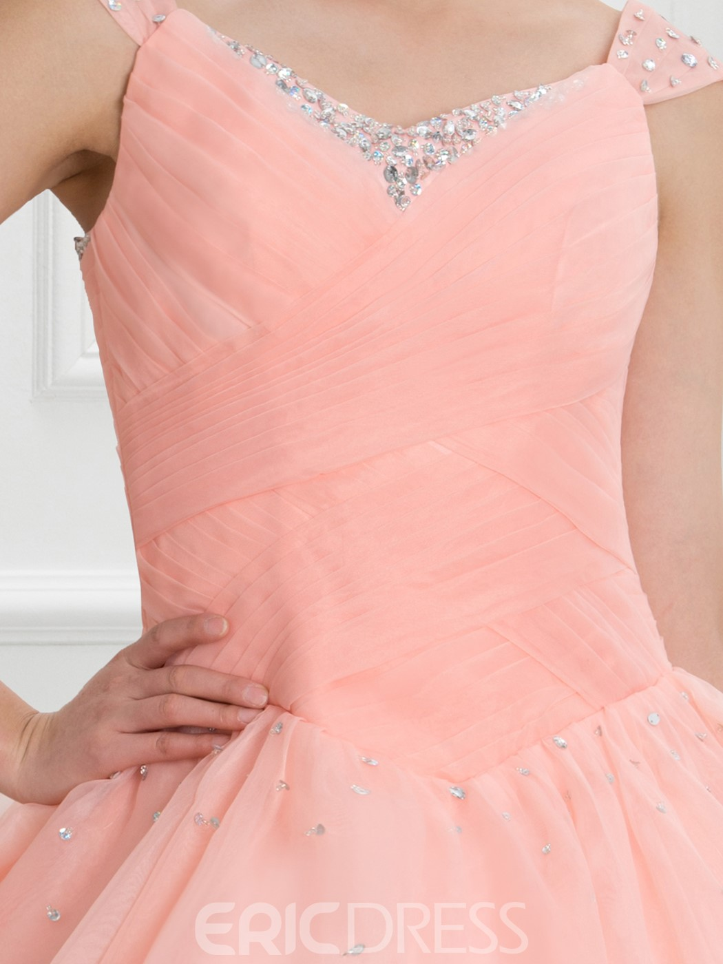 Ericdress V-Neck Beading Pleats Lace-Up Quinceanera Dress