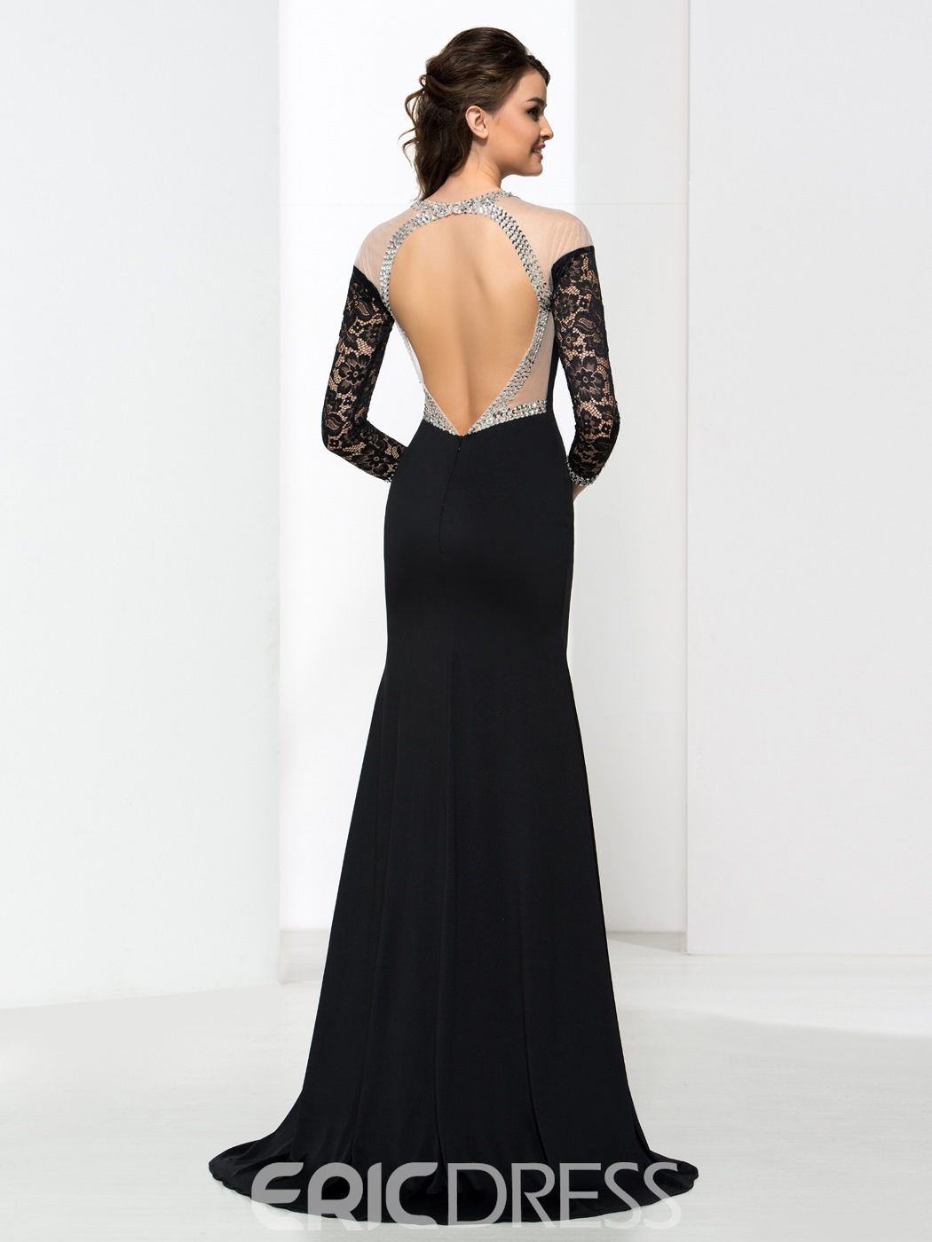 Ericdress Mermaid Long Sleeves Sequins Backless Evening Dress