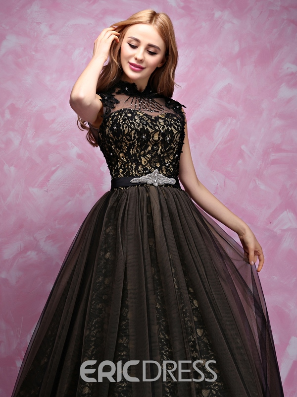 Ericdress Beading Floor-Length High Neck Military Ball Dress