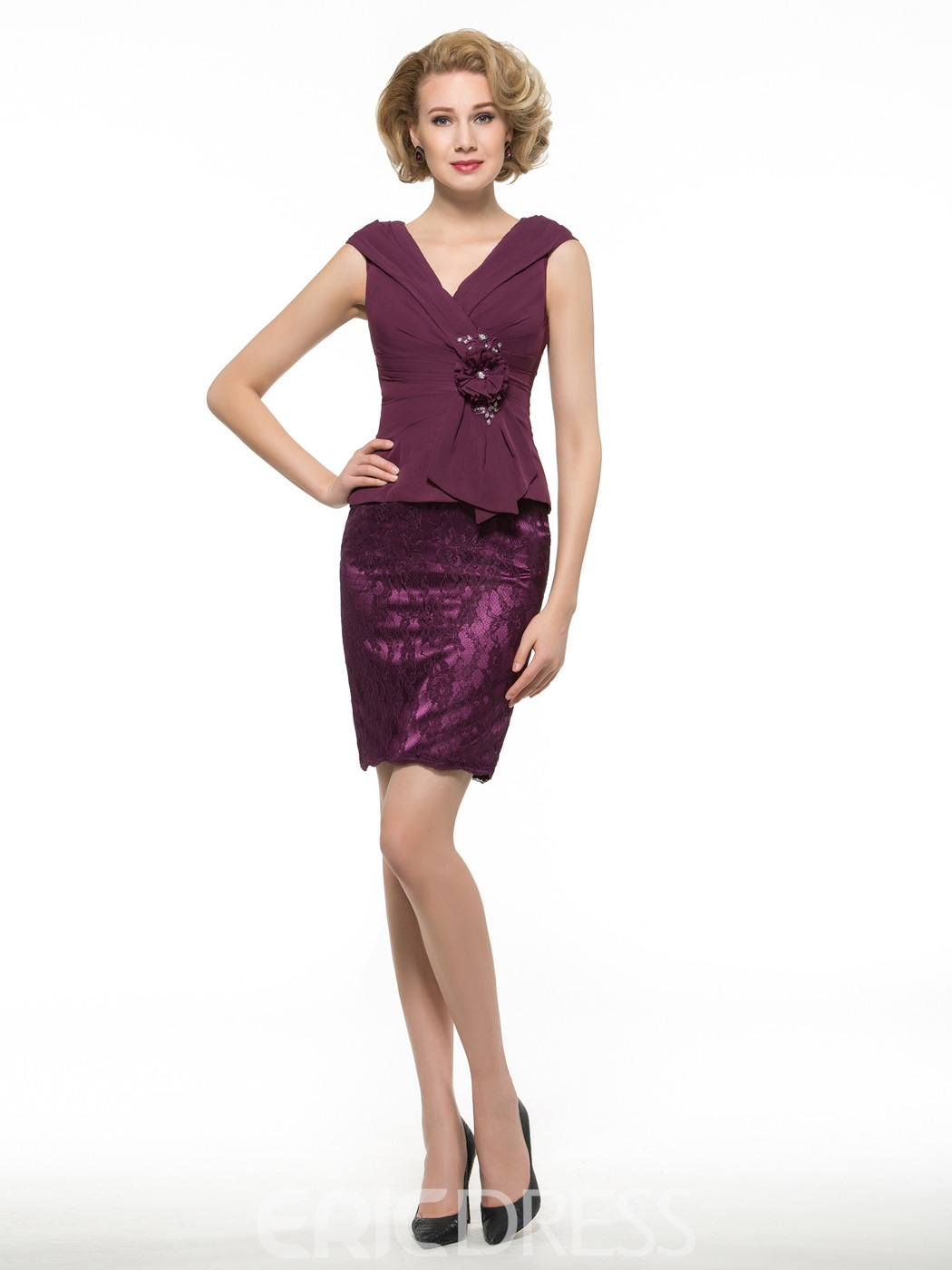 Ericdress Beautiful V Neck Sheath Short Mother Of The Bride Dress