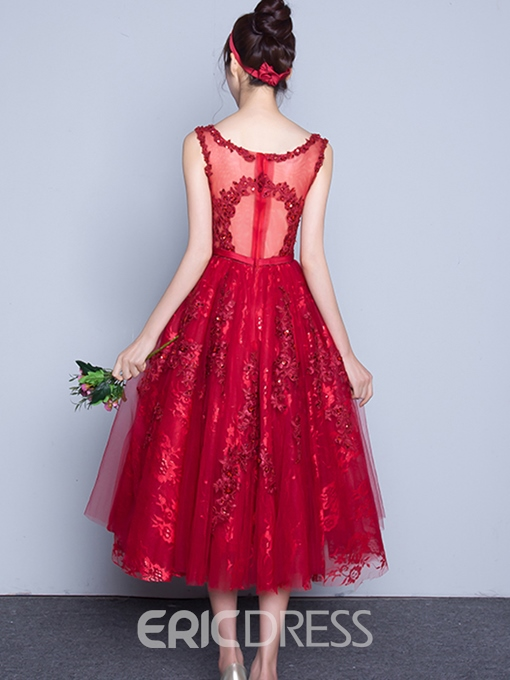 Ericdress Scoop Neck Lace Sequins Tea-Length Cocktail Dress