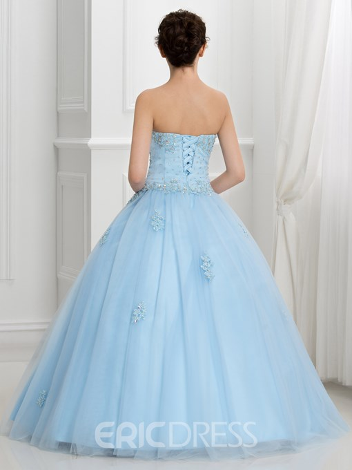 Dramatic Sweetheart Beading Lace-Up Ball Gown Quinceanera Dress