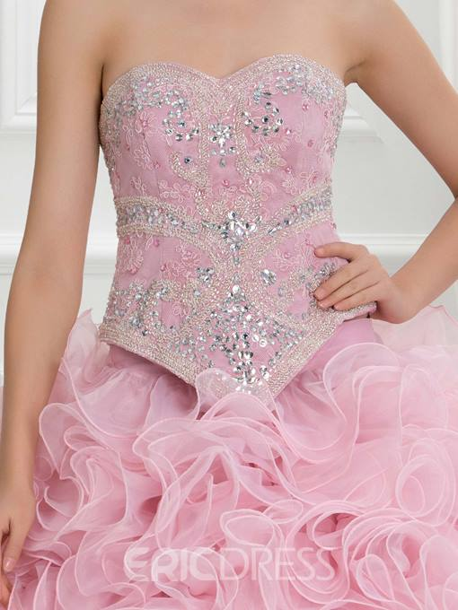 Ericdress Sweetheart Beading Cascading Ruffles Lace Quinceanera Dress