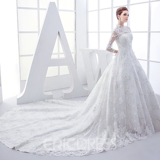 Ericdress High Neck Appliques Wedding Dress With Sleeves