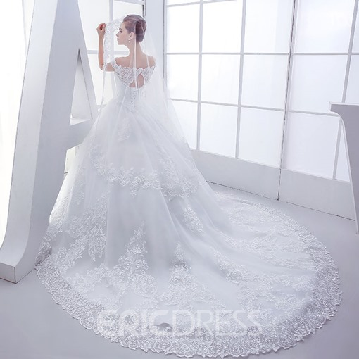 Ericdress Off The Shoulder Lace Ball Gown Wedding Dress