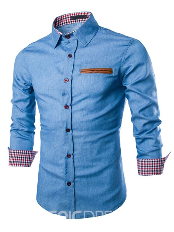 Ericdress Single-Breasted Patched Denim Slim Men's Shirt