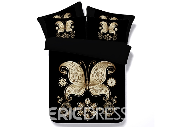 Vivilinen 3D Golden Butterfly Printed Black 4-Piece Bedding Sets/Duvet Covers