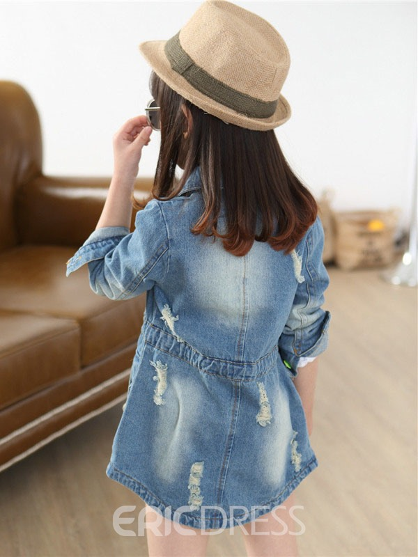 Ericdress Single-Breasted Girls Denim Jacket