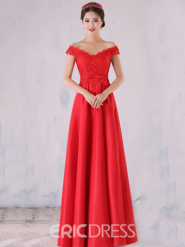 4da48d23934aa7 Ericdress Bateau Neck Beading Bowknot Lace Evening Dress ...