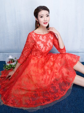 Ericdress A-Line 3/4 Length Sleeve Lace Cocktail Dress