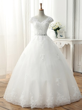 Ericdress Beautiful V Neck Appliques Ball Gown Wedding Dress