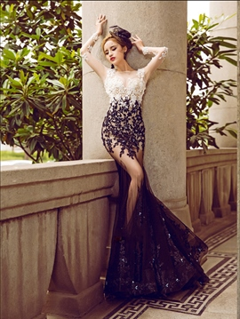 Ericdress Sheer Jewel Neck Appliques Beading Mermaid Evening Dress