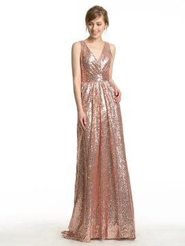 Ericdress Beautiful V Neck Sequins Bridesmaid Dress
