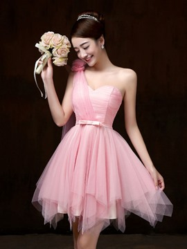 Ericdress Beautiful One Shoulder Asymmetry Bridesmaid Dress