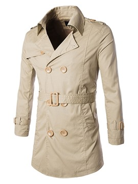 Ericdress Plain Double-Breasted Slim Trench Coat
