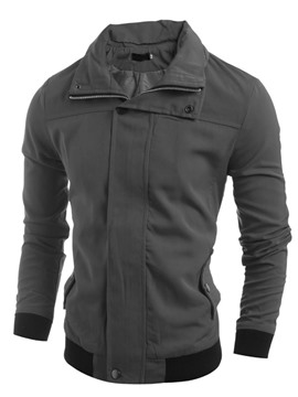 Ericdress Plain Zip Slim Men's Jacket