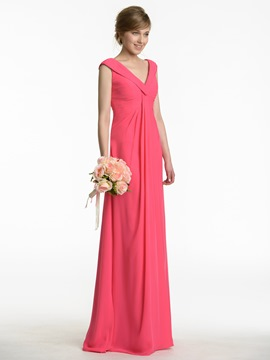 Ericdress Beautiful V Neck Empire Long Bridesmaid Dress