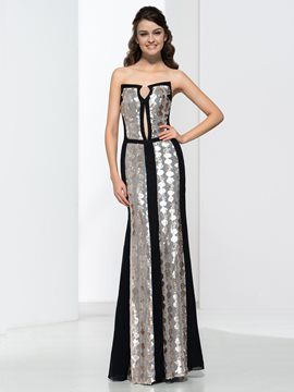 Ericdress Elegant Sheath Strapless Sequins Evening Dress