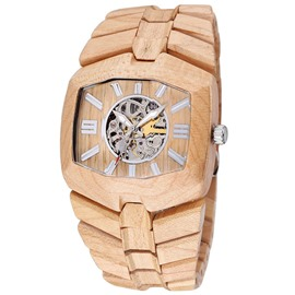 Ericdress Square Sandalwood Automatic Watch For Men