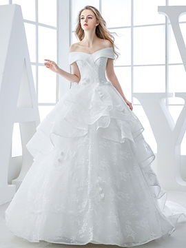 Ericdress Off The Shoulder 3D Floral Ball Gown Wedding Dress