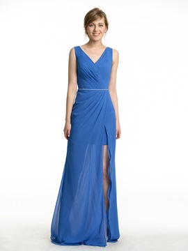 Ericdress Beautiful V Neck Split Front Long Bridesmaid Dress