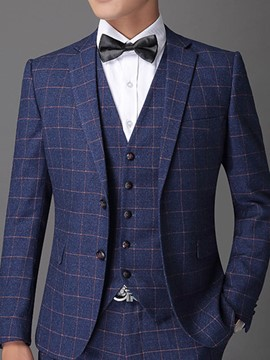 Ericdress Plaid Vogue Slim Men's Suit