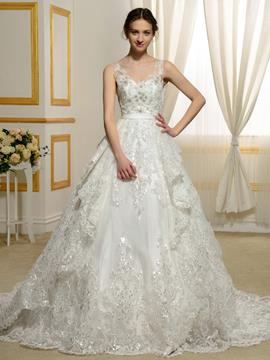 Ericdress Gorgeous Appliques Beading Backless Wedding Dress