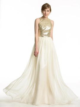Ericdress Fancy Sequins Backless Long Bridesmaid Dress