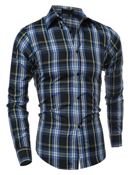 Ericdress Plaid Long Sleeve Men's Shirt