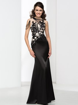 Ericdress Sheer Neck Appliques Sequins Long Evening Dress