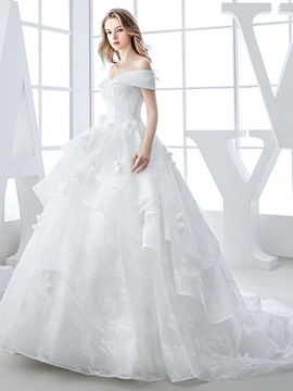 Ericdress Beautiful Off The Shoulder Ball Gown Lace Wedding Dress