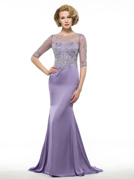 Ericdress Gorgeous Beading Half Sleeves Mother Of The Bride Dress