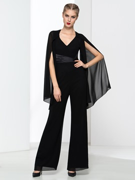 Ericdress Modern V-Neck Backless Black Prom Jumpsuit