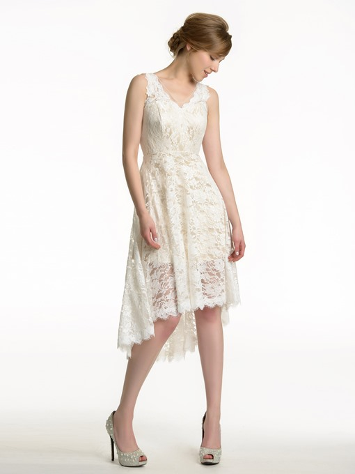 Ericdress Beautiful Lace Asymmerty Bridesmaid Dress