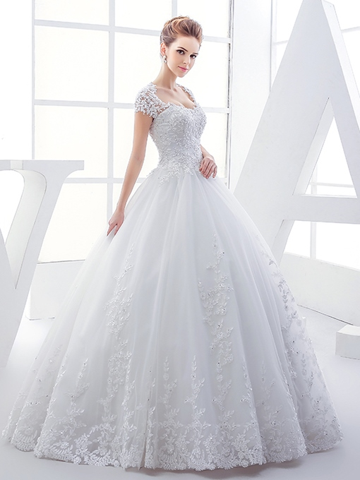 Ericdress Cap Sleeves Appliques Beading Ball Gown Wedding Dress